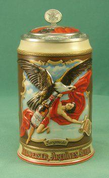 En 1993, edición especial de Budweiser con una jarra de cerámica. Ganimedes volvía así al Olimpo, pero no para escanciar el vino, sino para servir cerveza a los dioses.