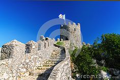 Castle of the Moors 2 stock image. Image of castle, battlement - 37769123 Medieval Castle, Santa Maria, Heritage Site, Lisbon, Portuguese, Mount Rushmore, Christian, Culture, Stock Photos
