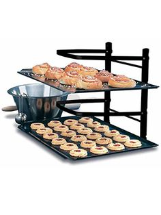 Kitchens can get cramped. Free up space when you bake with this handy shelving unit.