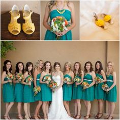 teal/aqua and yellow wedding; I like this shade of aqua best so far!