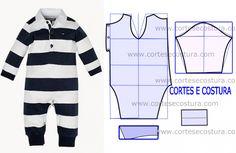 fato de bebé Sewing Kids Clothes, Sewing For Kids, Baby Sewing, Doll Clothes, Baby Dress Patterns, Baby Clothes Patterns, Baby Boy Outfits, Kids Outfits, Junior Fashion