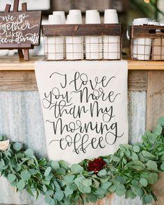 Kraft Paper and Greenery Decor for a Coffee Bar - Wedding Reception Ideas Daytime Wedding, Chic Wedding, Wedding Signs, Our Wedding, Wedding Ideas, Perfect Wedding, Unique Wedding Food, Party Wedding, Wedding Trends