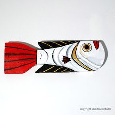 wood fish art | Painted Wood Fish White Folk Art by TaylorArts on Etsy
