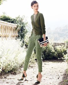 J.Crew women's ribbed metallic cardigan sweater, slim cargo pant, stripe mixed media clutch, and tassel ankle tie Roxie pump shoes.