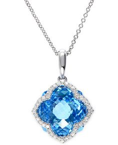 EFFY Blue Topaz (7-1/3 ct. t.w.) and Diamond (1/5 ct. t.w.) Clover Pendant in 14k White Gold - Necklaces - Jewelry & Watches - Macy's