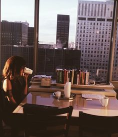 dusk  Coffee, a city with a view, books...MIchelle