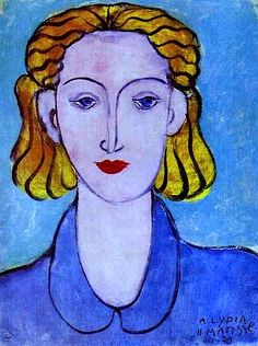 Girl in Blue by Henri Matisse (1869-1954) French - known for his use of color and fluid line, he is commonly regarded along with Picasso and Duchamp as one of the three artists who helped to define the revolutionary developments in the plastic arts in the opening decades of the twentieth century. Although initially labelled a Fauve (wild beast), by the 1920s he was also an upholder of the classical tradition in French painting. (wiki) - (bo fransson)