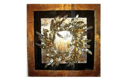 Double Border  Golden olive wall decor  Wreathbranches  by by Maria Driva, $265.00