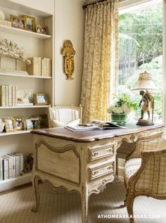 An elegant, French-inspired study/retreat/office..... At Home in Arkansas | October 2014 | Past in the Present