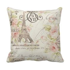 Vintage Floral Paris Eiffel tower decor pillow http://www.zazzle.com/vintage_floral_paris_eiffel_tower_decor_pillow-189806240055590344?rf=238282136580680600  $31.95