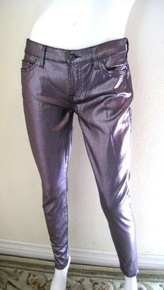 7 Seven For All Mankind The Skinny Jeans Metallic Purple 28 NWT Rome Rose Metal