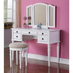 Tri Folding Mirror Vanity Set Makeup Table Dresser w/ Stool 5 Drawer White Wood #Contemporary