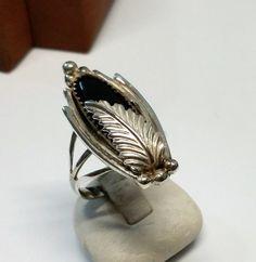 Vintage Ringe - 20 mm Ring Silber 925 Onyx Feder Vintage rar SR799 - ein Designerstück von Atelier-Regina bei DaWanda