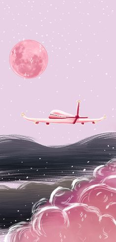 #gocase #lovegocase #wallpaper #lockscreenwallpaper #phonebackgrounds #iphonebackground #screensavers #pinksky #ariplane #travelling #moonandstars
