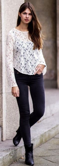 #street #style #spring #2016 #it-girl #outfitideas | White Lace Shirt + Black Denim | Whaelse