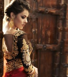 Beautiful sari blouse, with intricate work. #indian #wedding #bridal #embroidery