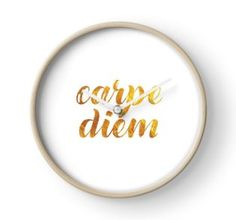 'Carpe Diem 'Seize the Day' gold latin quote' Clock by sagetypo