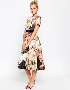 ASOS Premium Crop Top Prom Evening Dress With Large Shadow Flowers UK 10/EU 38