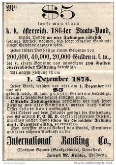 Original-Werbung/Inserat/ Anzeige 1875 - ZIEHUNG 1864ER STAATS-BOND / INTERNATIONAL BANKING CO. NEW YORK ca. 100 X 60 mm