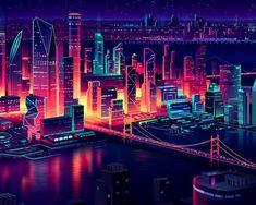 The Cyber Force - Neon City - Wattpad City Illustration, Digital Illustration, Pixel Art, Cityscape Wallpaper, City Wallpaper, Neon Aesthetic, Retro Waves, Cyberpunk Art, Environment Design