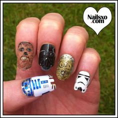 Star-Wars-Nail-Art-Design-R2D2-May-The-4th-Be-With-You-Chewbacca-C3PO-Darth-Vader-Stormtrooper-Nails