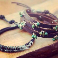 Wrap bracelets in turquoise and aquamarine