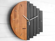 Geometric Modular Design in Modern Style with Silent movement The OVAL by Paladim Handmade 12 Inch Round Industrial Wooden Wall Clock for Home and Office