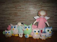 corujas feita para a festa de aniversário da minha filha, nunca tinha feito coruja e nem anjo, foi um desafio