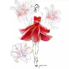 Beautiful dress made of Real Flower Petals by Grace Ciao Grace Ciao, Flower Petals, Flower Art, Dry Flowers, Love Lily, Floral Fashion, Fashion Art, Dress Fashion, Art Drawings Sketches
