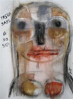 Tasha Says I'm So Sad by Scott Bergey | acrylic painting | Ugallery Online Art Gallery