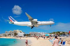 A typical day in St. Maarten at Maho Beach. You can watch planes coming in at the Sunset Bar & Grill.