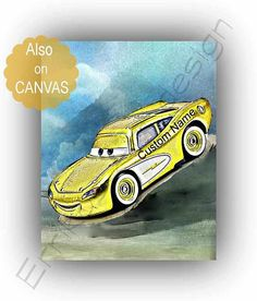 Lightning McQueen Cars print Custom Name art McQueen disney Name Art, Lightning Mcqueen, Disney Cars, Nursery Wall Art, Wall Art Prints, Poster Boys, Room Art, Yellow, Canvas