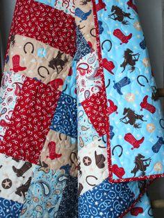 Baby Boy Quilt-Rodeo Nursery Bedding Cowboy Quilt by GoBeWonderful