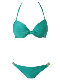Solid Color Push Up Halter Bikini Set #womensfashion #pinterestfashion #buy #fun#fashion