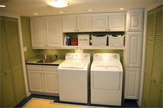 That's one awesome laundry room - even with its old school washer/dryer!