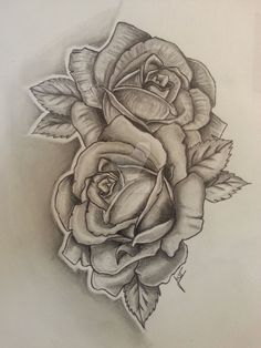 2 Roses - Tattoodesign by drawing-just