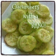 When you have a bumper crop of cukes and zukes......remember this recipe.  Cucumbers with a BANG!   Baby cucumber  Lemon juice  Olive oil...  Salt and pepper  Chili powder  Instructions  Chop a baby cucumber and add lemon juice, olive oil, salt and pepper and chile powder on top. YUM!!  FOLLOW me on Facebook; I am always posting AWESOME stuff! https://www.facebook.com/roni.link  MUCH !! THANKS