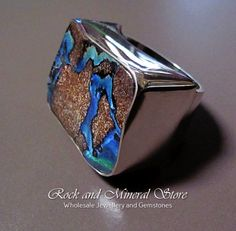 Solid Koroit Seam Boulder Opal Ring 925 Sterling Silver US Size 10 by rockandmineralstore on Etsy #KoroitOpal