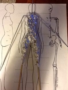 proportion chart showing wire armature and foil bulking out for 12 inch figure - image