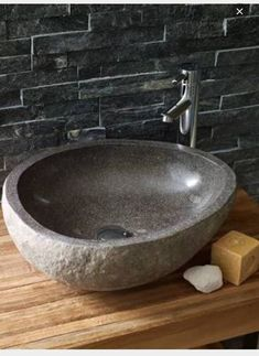 Lavastone Pebble Basin from Mandarin Stone: These unique basins are carved from Basalt boulders found in the rivers of Indonesia. Downstairs toilet/powder room just needs to be simple Stone Bathroom Sink, Small Bathroom, Master Bathroom, Bad Inspiration, Bathroom Inspiration, Ideas Baños, Ideas Party, Decor Ideas
