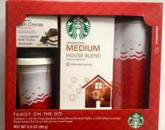 "Starbucks Gift Basket ""Family on the Go"" 2 Travel Mugs, Coffee, Hot Chocolate - http://mygourmetgifts.com/starbucks-gift-basket-family-on-the-go-2-travel-mugs-coffee-hot-chocolate/"