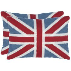 Bring the timeless Union Jack design into your home with these attractive red decorative pillows. The set of two pillows will complement your décor or become conversation pieces in your home. A hidden zipper gives access to their dry cleanable covers.