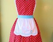 retro pink apron 50s DINER WAITRESS ..ice cream parlor