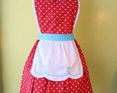 retro pink apron 50s DINER WAITRESS ..ice cream parlor fifties sexy hostess bridal shower gift vintage inspired flirty full. $29.99, via Etsy.