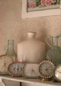 vintage clocks <3 <3 try a cheap large one embellished, buttons ?