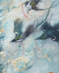 "Another closeup to see those textures in ""Three Fates"" #watercolors #gold #goldleaf #beautiful #magpies #bird #birdsinart #art #birdart #surreal #painting"