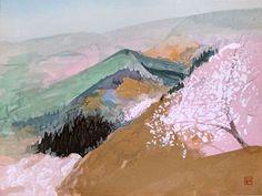 Landscape by Togyu Okumura 奥村土牛 Abstract Images, Abstract Landscape, Landscape Paintings, Sakura Painting, Japanese Painting, Japanese Art Styles, Japanese Prints, Art Japonais, Spring Painting