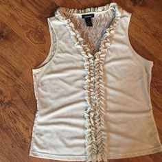 Express lace back sleeveless blouse Tan color with Ruffles down the front and around neckline Express Tops Blouses