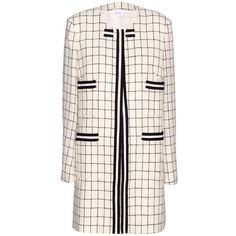 Thom Browne Checked Wool Coat (23.951.030 IDR) ❤ liked on Polyvore featuring outerwear, coats, white, wool coat, woolen coat, checked coat, white woolen coat and white wool coat