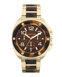 Michael Kors Mid-Size Tribeca Chronograph Watch, Golden/Tortoise. $275